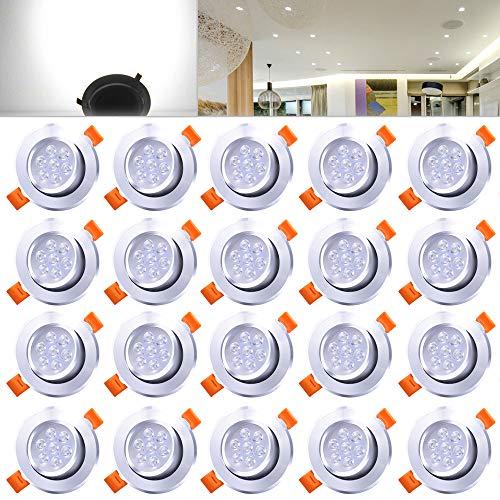Hengda 20er Pack 7W LED Einbauleuchte Kaltweiß Schrankleuchten für Geschäft Vitrinenbeleuchtung Aluminium Möbelleuchte Dimmbar 220v Leuchte