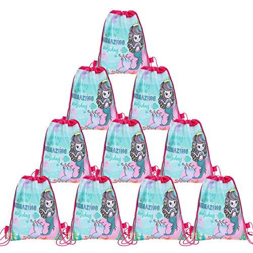 JOYMEMO 12er Pack Mermaid Party Taschen, Kordelzug Rucksäcke, Mitbringsel Geschenktüten, Süßigkeiten Goodie Taschen für Mädchen Geburtstag unter dem Meer Thema Party Supplies behandeln