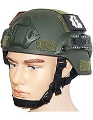 OneTigris - Casco de combate avanzado (ACH) estilo MICH 2000con soporte para gafas de visión nocturna (NVG) y carril lateral para Airsoft/Paintball, OD verde