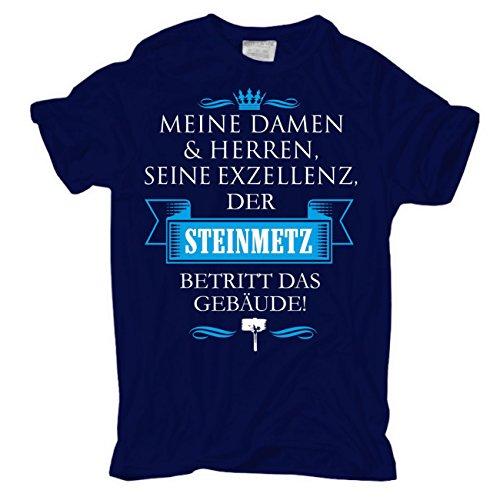 Männer und Herren T-Shirt Seine Exzellenz DER STEINMETZ körperbetont dunkelblau