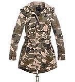 SS7 Damen Tarnung Graben Mantel Mac Segeltuch Regenjacke Damen Jacke Größe 36-44 (38, Khaki/Rosa)
