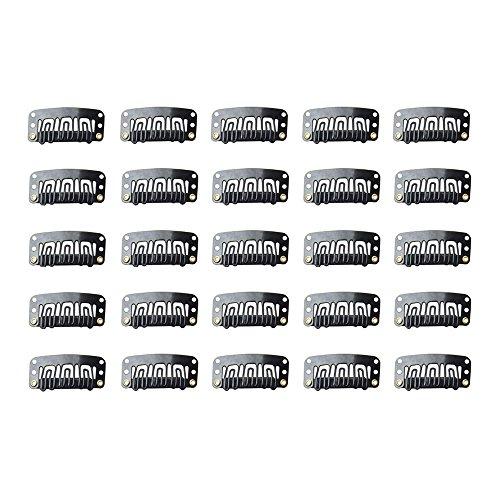 Haobase 25 Stück Schwarzeinschlag Clips 32mm für Haar-Verlängerungen und Tressen