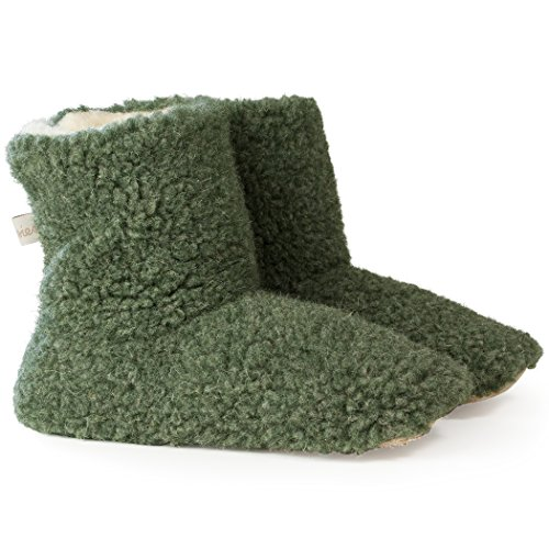 Woolsies  Aconca Natural Wool Slipper Booties, Chaussons à doublure chaude femme green