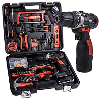 Tool Kit SUPSOO 60Pcs Household Power Tools Drill Set with 16.8V Lithium Cordless Drill Driver Claw Hammer Wrenches Pliers for Home Office Shed Garage Bike Car Electronics Test Repair