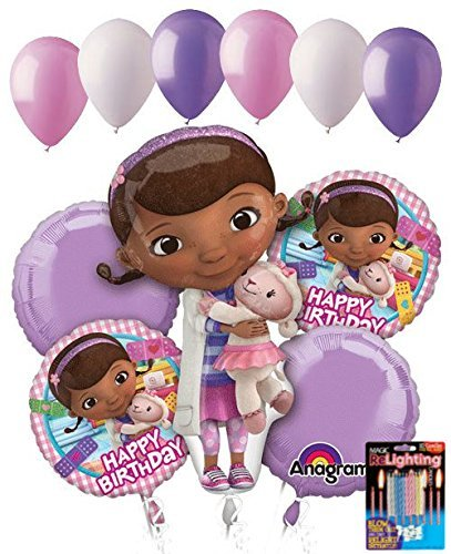 11 pc Doc Mcstuffins Happy Birthday Balloon Bouquet Party Disney Doctor Girl Vet by Jeckaroonie Balloons