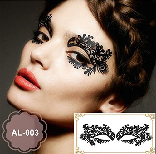 Party Augen Make-up Tattoo Spitze Aufkleber Halloween AL-003 Sticker Tattoo - - Make-up Augen Ein Halloween