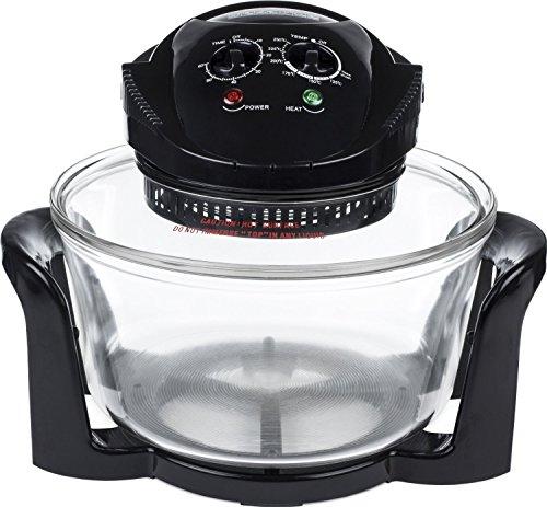 17 LTR Premium 1400-W-Halogenofen - komplett mit Erweiterungsring (bis zu 17 Liter), zwei Rosten oben und unten, Backblech, Deckelhalter, Dampfgarblech, Brotrost & Zange