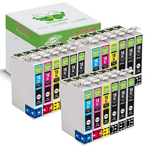 GREENBOX Sostituzione Compatibile con Epson 18 18XL Colori Cartucce d'inchiostro Compatibile con Epson Expression Home XP-30 XP-33 XP-102 XP-201 XP-202 XP-205 XP-302 XP-305 XP-402 XP-405 XP-405WH