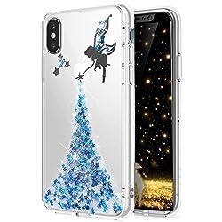 HMTECH Huawei P20 Hülle Glitzer Kristallklar Diamanten Bling Stern Engel Feenhaftes Mädchen Durchsichtig Silikon TPU Schutzhülle Handy Bumper für Huawei P20,Blue Fairy Girl