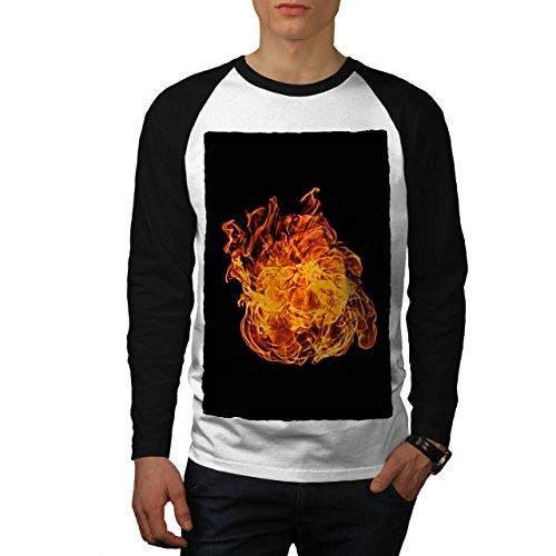 Groß Feuer Ball Heiß Flamme Fackel Men XXL Baseball LS T-shirt | Wellcoda (Asche-raglan-t-shirt)