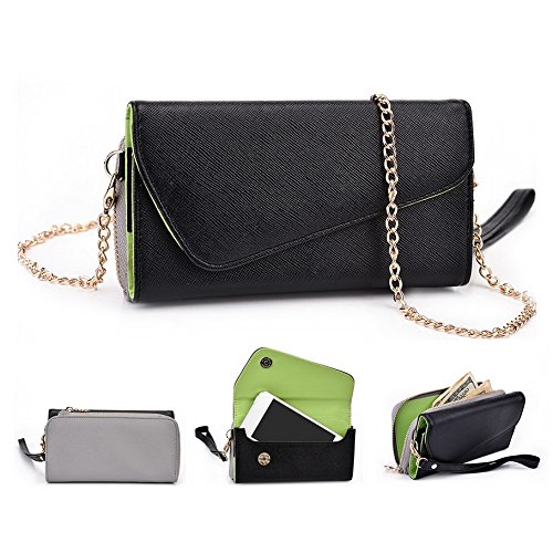 Kroo d'embrayage portefeuille avec dragonne et sangle bandoulière pour Smartphone Samsung Galaxy S III mini Noir et gris