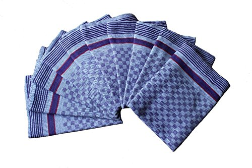 10 x Grubentücher 100 % Baumwolle 45x90 50x100 220g/m2 45 cm x 90 cm (Blau Karierte Party Supplies)