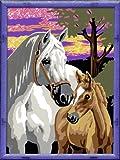 Ravensburger 28242 - Pferde im Sonnenuntergang - Malen nach Zahlen, 18 x 24 cm