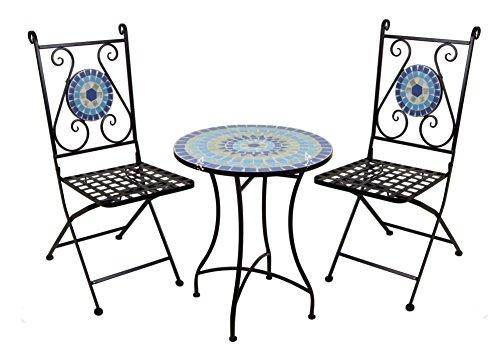 ... Spetebo Mosaik Bistroset   2x Gartenstuhl + 1x Gartentisch   Bistro  Tisch Metall Stuhl Klappstuhl ...