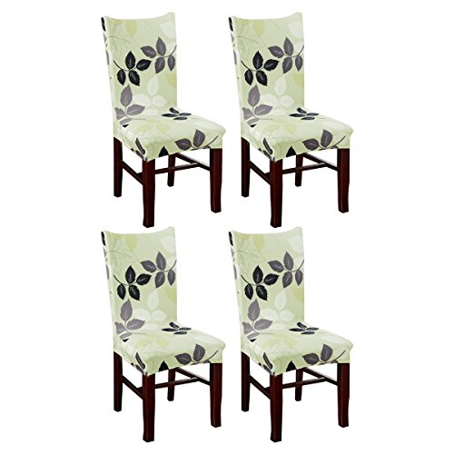 KING DO WAY Set of 4 Chair Cover Fitted Chair Slipcovers Removable Washable for Hotel Dining Room Wedding Banquet Stretch Spandex Party Decor F