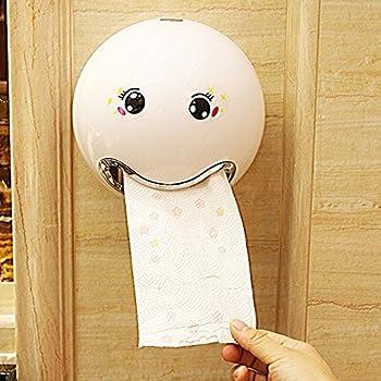 KINGKO Ball Shaped Nette Emoji Bad Wc Wasserdichte Toilettenpapier Box Rollenpapier Halter Weiss