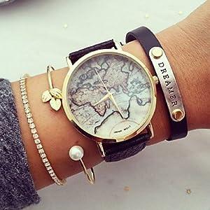 Reloj Unisex Estilo de Mapa Mundial/Vendimia Mapa del Mundo/Mapa del Mundo Antiguo/Reloj de señoras/Las Mujeres de imitación de