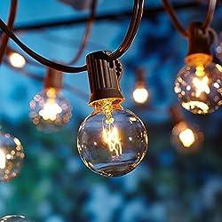 Outdoor Garden String Lights, 25ft G40 Oxyled Garden Patio Outside String Lights,waterproof Indooroutdoor String Lights, Great Garden Terrace Patio Outside Xmas Lights (25 Bulbs,3 Replacement Bulbs)