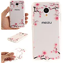 Ecoway TPU Funda Case for Meizu Meilan 3 , Ultra Thin Carcasa Anti Slip Soft Bumper Scratch Resistant Back Cover Crystal Clear Flexible Silicone Case Parachoques Carcasa Funda Bumper - Flor de ciruela