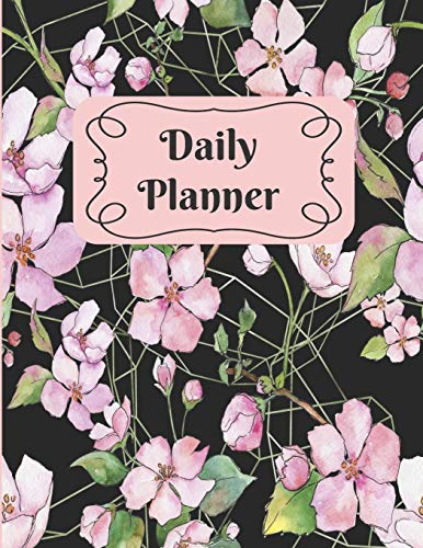 Daily Planner: Black and Pink Gardenia 90 day Monthly Weekly Planner Undated -