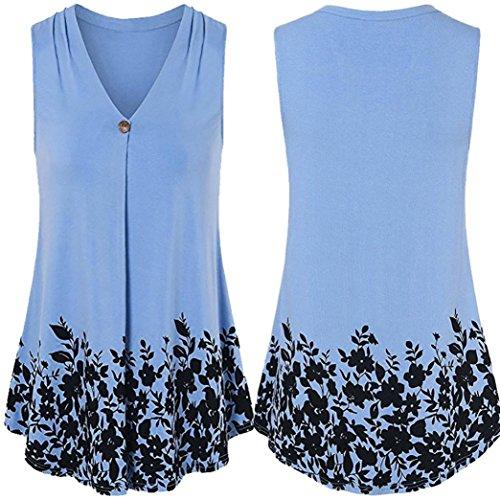 OSYARD Damen Knopf-Blumendruck-T-Shirt Kurze ärmellose Spitzenbluse(EU 46/XL, Blau) (Armee Baseball Jersey)