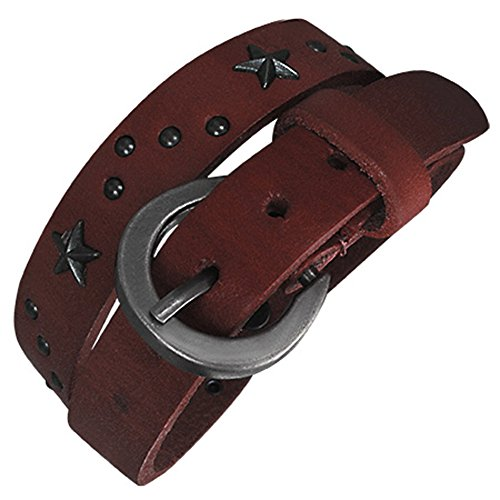 Zense - Genuine leather star stud double wrap belt buckle bracelet ZB0121 (Belt Wrap Double)