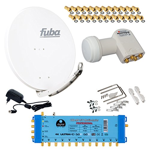 FUBA 12 TEILNEHMER DIGITAL SAT ANLAGE DAA850W + Opticum LNB 0,1dB FULL HDTV 4K + PMSE Multischalter 5/12 + 35 Vergoldete F-Stecker Gratis dazu