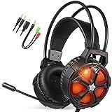 EasySMX Casque PC, Cool 2000 Casque Gaming avec Micro Anti Bruit LED Lampe Stéréo Basse, Casque Gamer pour PS4/PC/Xbox One/Nintendo Switch(Audio)/Mac/Smartphone (Noir+Orange)