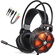EasySMX Cuffie Gaming, Cool 2000 Cuffie da Gioco con Microfono e Bass Stereo, Cancellazione del Rumore, Controllo del Volume, Illuminazione a LED, Colore Arancio