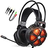 EasySMX Cool 2000 Gaming Headset w/ Built-In Microphone (Black Orange) Stereo Surround Sound