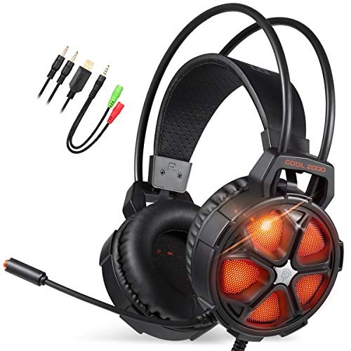 EasySMX Gaming Headset, COOL 2000 komfortable LED Over-Ear Stereo Gaming Kopfhörer mit Mikrofon und Lautstärkeregler, für PC/Mac/Neue Slim Xbox One / PS4 / Smartphone [2019 Edition] (Ps3 Stereo-headset Sony)