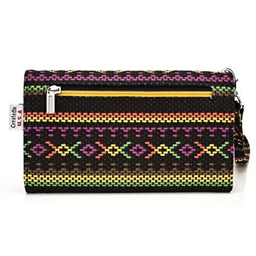 Kroo Téléphone portable Dragonne de transport étui avec porte-cartes pour pour ZTE Open L/Nubie Z9Mini Multicolore - noir Multicolore - jaune
