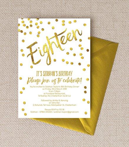 personalisierbar gold Konfetti Geburtstag Einladungen mit Umschlägen (10Stück)