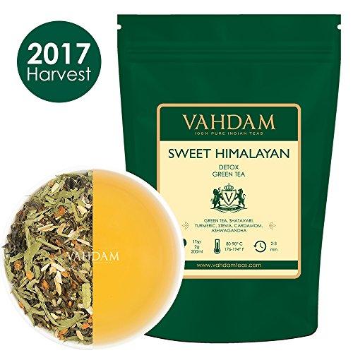 Süße Himalaya Detox Grüntee Blätter (100 Tassen) - Stevia, Kurkuma, Shatavari, Kardamom, indischer Ginseng,100% NATÜRLICH, DETOX TEE, GEWICHTSVERLUST TEE, Verpackt in Indien, 200g