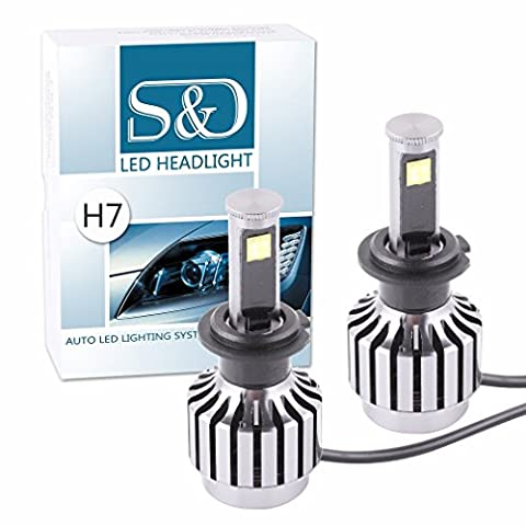 S&D New All-in-one design 60W 6,000Lm H7 Cree LED Headlight Bulbs Conversion Kit For Car Auto Motorcycle Bikes 30W Each Bulb - Plug & Play - One Pair