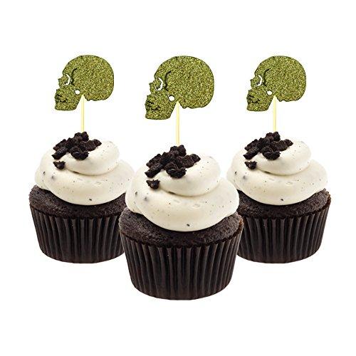 Halloween Cupcake Topper 12 Stück pro Packung Dekoration Kuchen Glitzer Karte Stock Gold (Zwölf Cupcakes Zu Halloween)