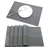 Famibay Vinyl Tischset 6er PVC Platzsets Rutschfest Abwaschbar für Küchentisch Tischläufer Abgrifffeste Hitzebeständig Platzdeckchen(Schwarz)