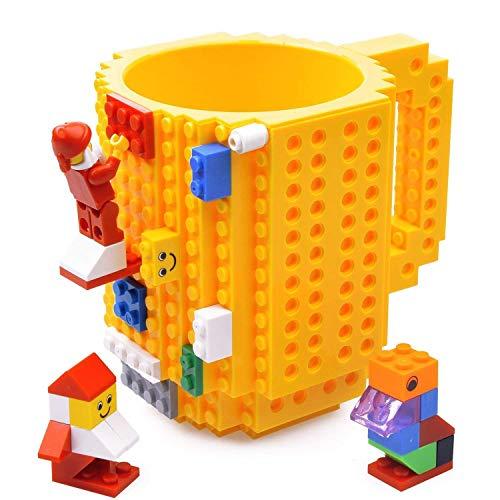 Kyonne Build-on Brick Mug, Tazas Desayuno, Regalo Ideal para Hombre - Chico - Chicas, Originales Regalo de Navidad (Amarillo)