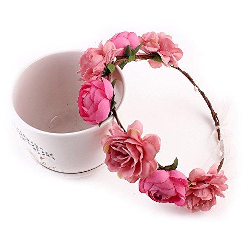 TJW Blumenkranz Stirnband, Blume Stirnband Garland Haarkranz Floral Stirnband Haarschmuck Böhmen Blumenkrone für Frauen Blumen Festival...