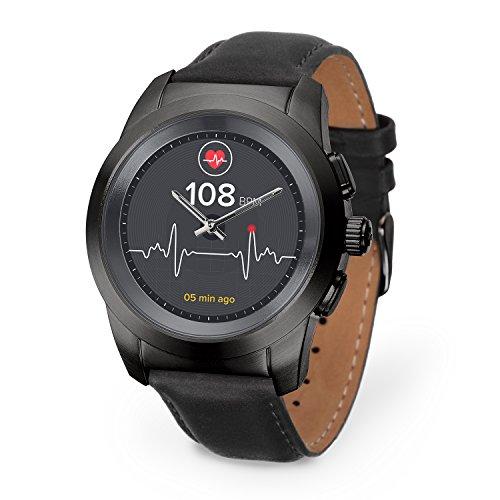 MyKronoz ZeTime Premium Reloj Inteligente híbrido 44mm con Agujas mecánicas Sobre una Pantalla a Color táctil – Regular Cepillado Negro/Cuero Negro