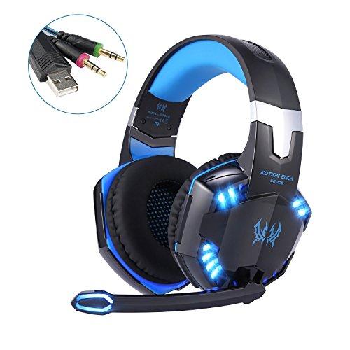 Gaming Kopfhörer, GreensKon Need for Speed PC USB 3.5mm Computer Chat Stereo Headset mit Mikrofon Geräuschunterdrückung schwarz/blau G2000