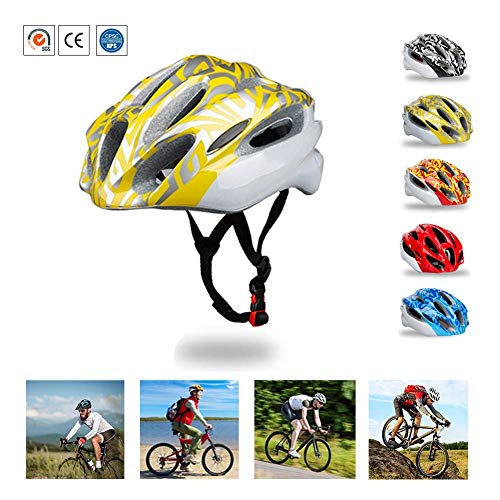 MOHET Bicycle Off-Road Adult Helmet Safety Riding Hat Breathable Road Mountain Skateboard Helmet with Removable Sun Visor Head Protection Equipment,Yellow,L(22.4~24.5in)