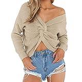 Vertvie Damen Pullover V Ausschnitt Lose mit Langen Ärmeln Sexy Pullover Asymmetrische Knoten Pulli (Ons Size, Aprikose)