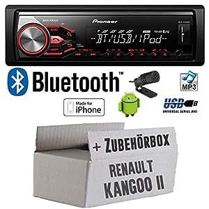 Renault Kangoo 2 - Pioneer MVH-X380BT - MP3/USB Bluetooth Autoradio - Einbauset
