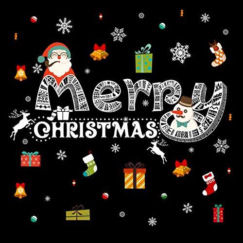 HAPPYLR Weihnachtsdekoration Aufkleber Restaurant Bank Shop Glastür Aufkleber Schule Fenster Fenster Aufkleber Santa Wandaufkleber, Bunte Weihnachten + Geschenkboxen, Große - Schule Ornament Christmas