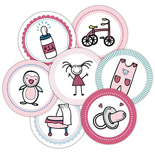 Frau WUNDERVoll 48 Aufkleber Baby Shower Mädchen/Aufkleber Kindergeburtstag Sticker Dekoaufkleber Dekosticker Geburtsparty Mädchen Geschenkaufkleber Aufkleber Kinder Aufkleber Geburt