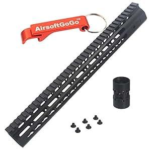 """CNC 15"""" Key Mod Rail Handguard pour Marui G&P M4 / M16 / SR16 / SR25 series Airsoft AEG [pour Airsoft uniquement]"""
