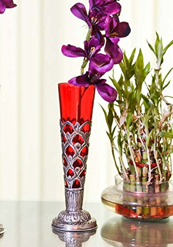 Homesake Cardinal Flower Vase Small with Hand Carving