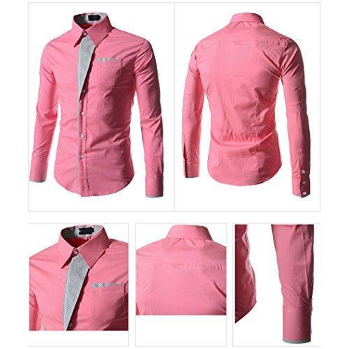 Juleya Camicia Uomo Slim Fit Camicie Formale Manica Lunga Casual Top Tinta Unita Tops Camicia Moderna Morbida e Confortevole Rosa