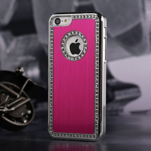 Iphone 5C Deluxe Red brushed aluminum diamond case bling cover for iphone 5C